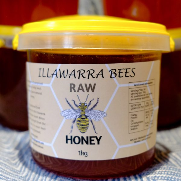 pure raw honey 1kg tub by illawarra bees